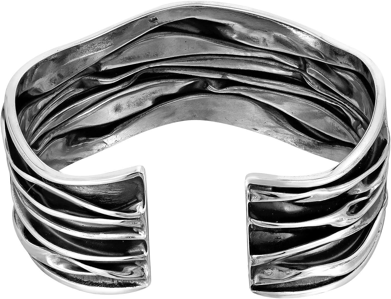 FREE SHIPPING Perfect Gift Chunky 50.54 Grams Sterling Silver Lightning Bolts Cuff Bracelet Modern  Art Ocean Waves Beach Modernist