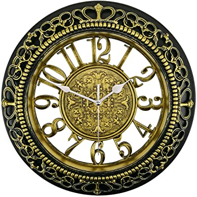 Foxtop 12 Inch Vintage Wall Clock Silent Non-Ticking Decorative Battery Operated Quartz Retro Wall Clocks for Kitchen Living Room Bedroom Dining Room Gifts (Gold & Black)