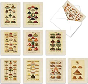 10 Assorted 'Mrs. Beeton's Charts' Thank You Cards with Envelopes 4 x 5.12 inch, All Occasion Greeting Cards with Vintage Illustrations of Food, Stationery for Wedding, Birthday, Holiday M2352TYG