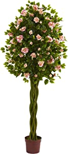 Nearly Natural 6' Rose Artificial Tree with Woven Trunk, Pink