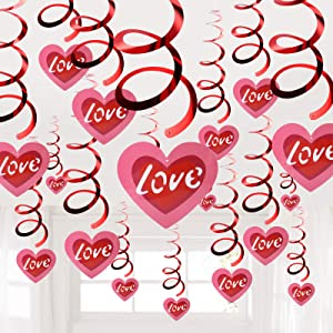Heart Hanging Swirls Valentines Day Decorations Red Love Hanging Swirl for Home Ceiling Wall Window to Celebrate Engagement Wedding Romantic Special Night Anniversary Valentine's Decor Party Supplies(20 Pcs Big Heart Hanging)