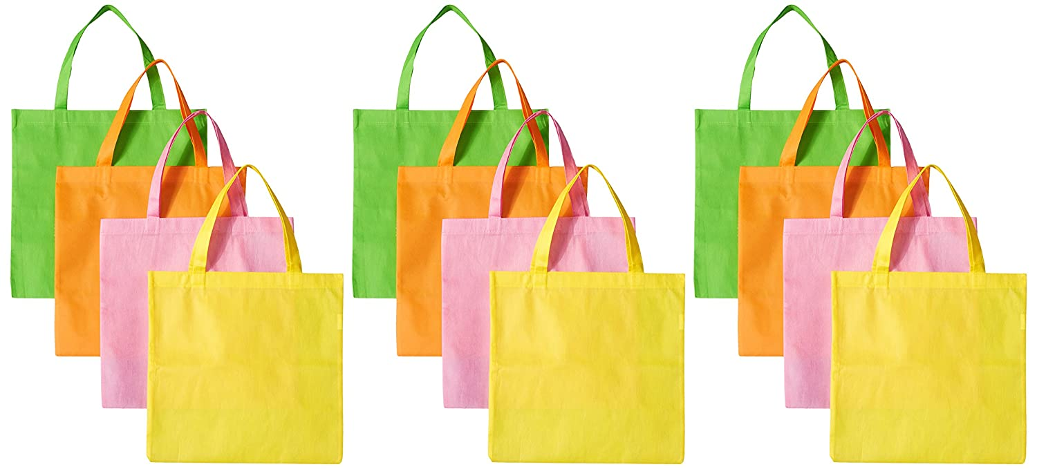 834cb1ba33f Amazon.com  12 Large Neon Tote Bags, Assorted Colors  Toys   Games