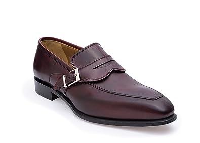 Hybrid Monkstrap Loafers Hand Burnished Burgundy Men's Shoes - Free Shoehorn