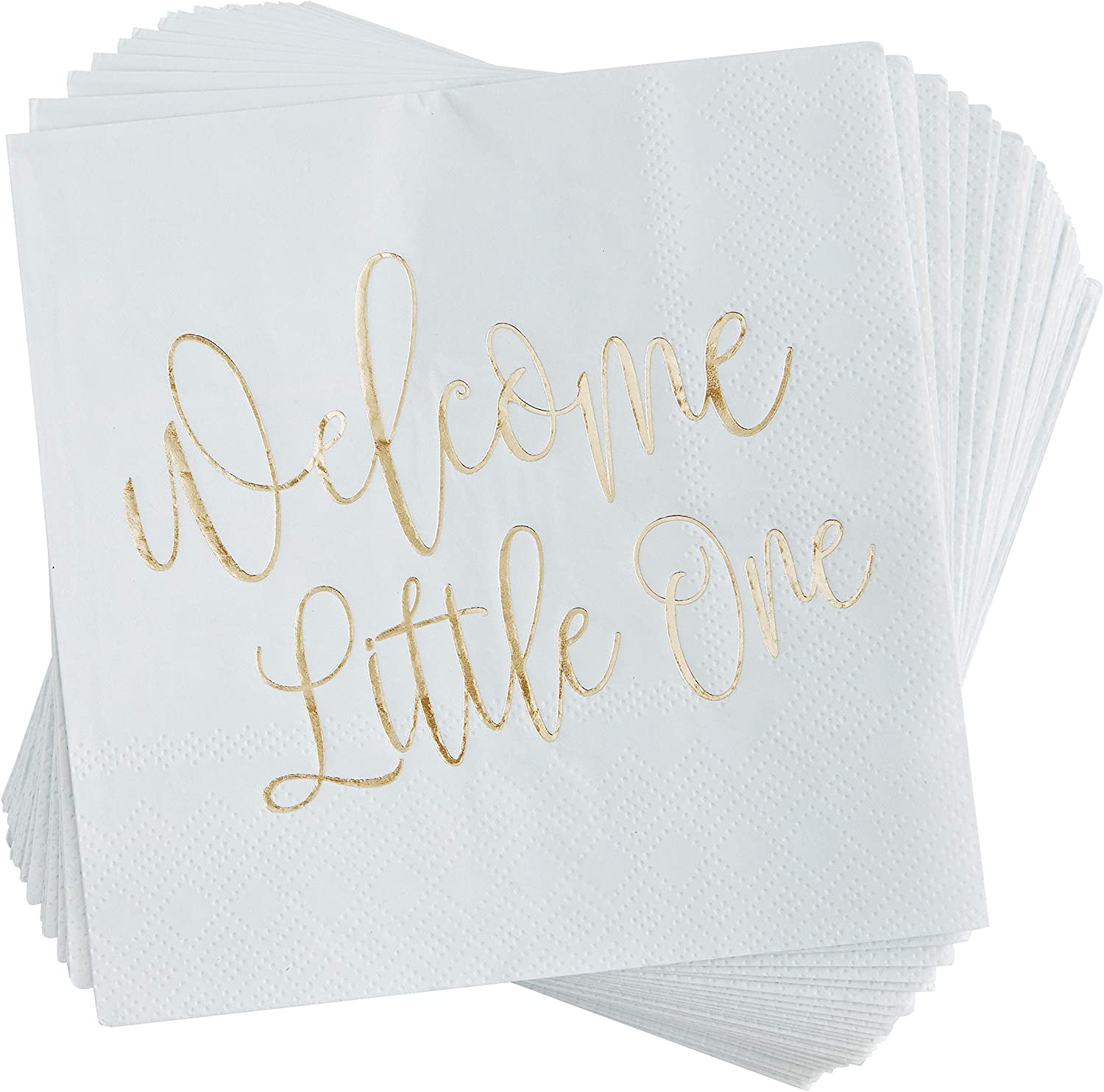Blue Panda Baby Shower Cocktail Napkins, Welcome Little One (50 Pack), Light Blue with Gold Foil