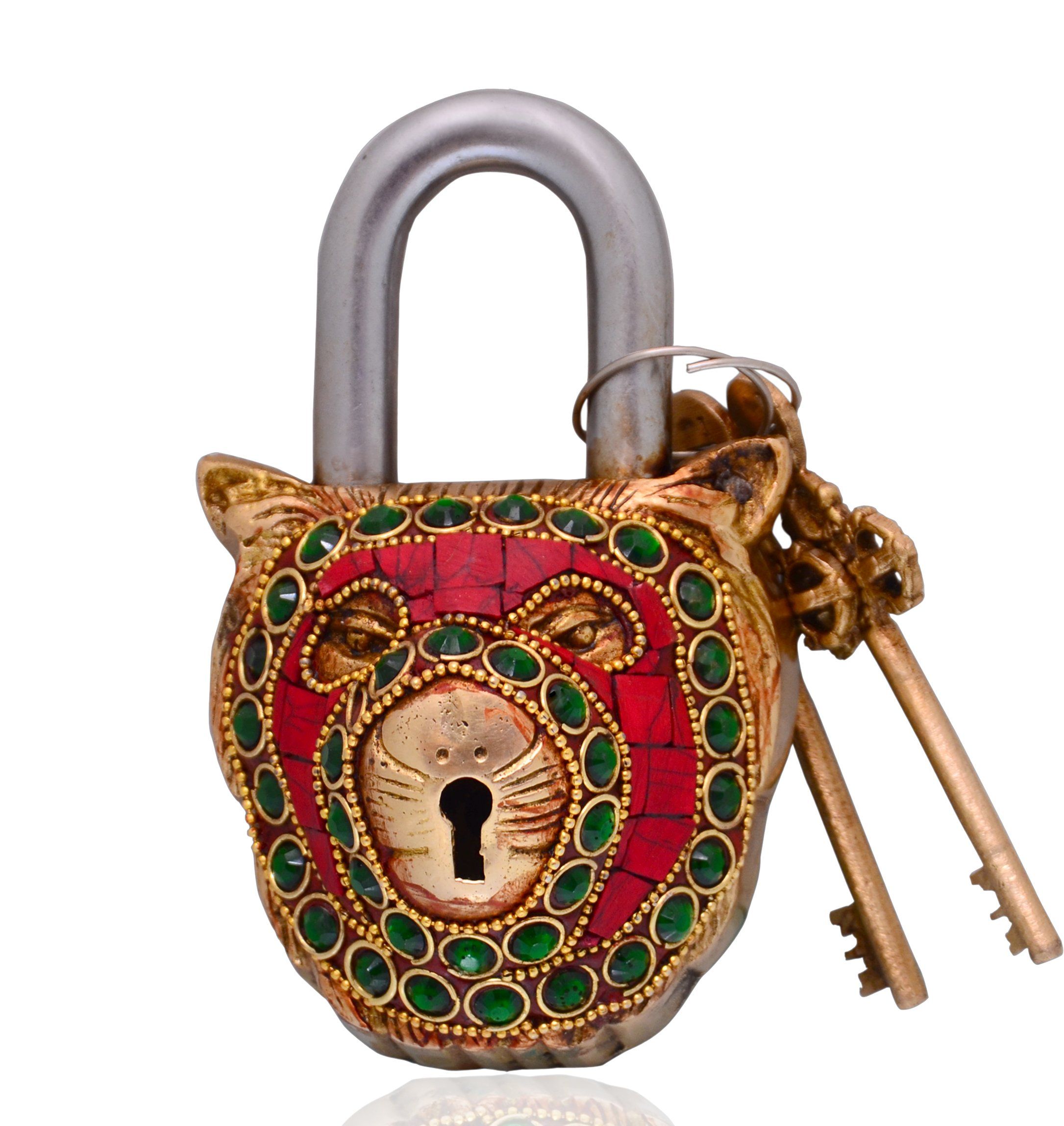 Purpledip Lion Shaped Brass Lock Padlock: Handmade Antique Design With Colorful Gemstone Work; Unique Collectible Combination Of Style & Security (10699)
