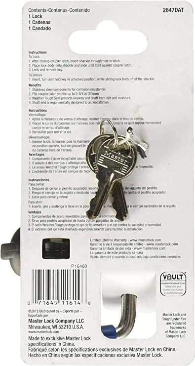 MASTER LOCK STAINLESS STEEL ADJUSTABLE COUPLER LATCH LOCK 2847DAT 9//16 TO 2-3//4