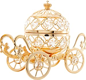 Matashi 24K Gold Plated Crystal Studded Large Cinderella Pumpkin Coach Ornament Tabletop Showpiece Centerpiece for Living Room Bedroom Gift for Christmas Valentine's Day Mother's Day Birthday