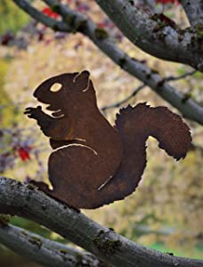 Elegant Garden Design Nibbling Squirrel, Steel Silhouette with Rusty Patina