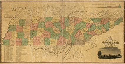 Map Poster - A map of the state of Tennessee taken from survey - 24\