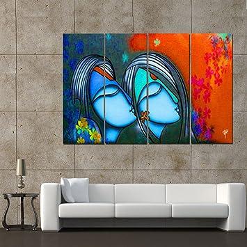 Ray Decor Multiple Sparkling Radha Krishna Wall Painting 4 Frames