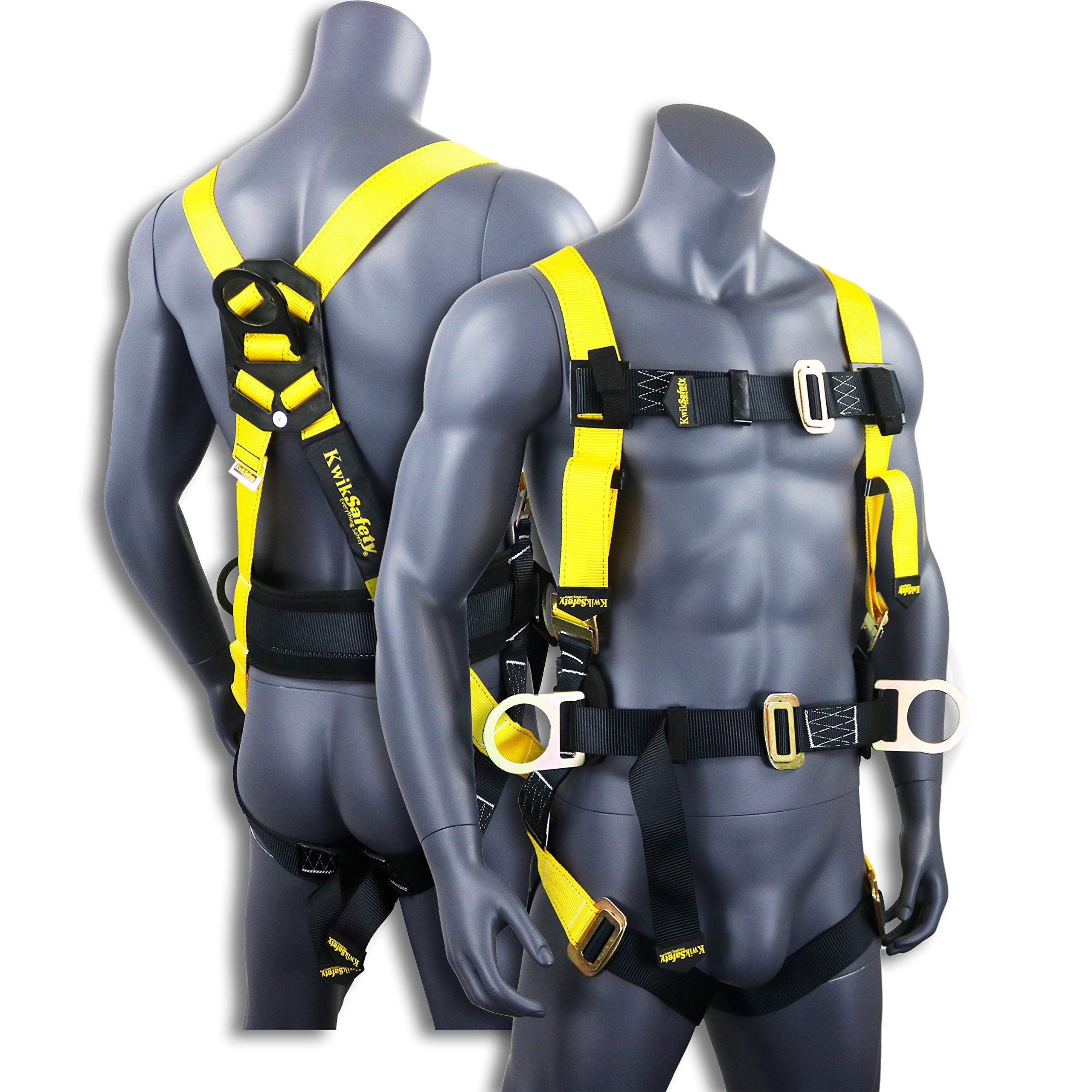 KwikSafety (Charlotte, NC) HURRICANE | OSHA ANSI Fall Protection Full Body Safety Harness w/Back Support | Personal Protective Equipment | Dorsal Ring Side D-Rings | Construction Industrial Roofing by KwikSafety
