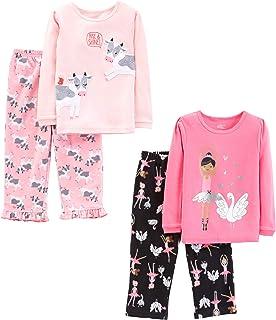 Simple Joys by Carters Toddler Boys 4-Piece Fleece Pajama Set SS Poly Top /& Fleece Bottom