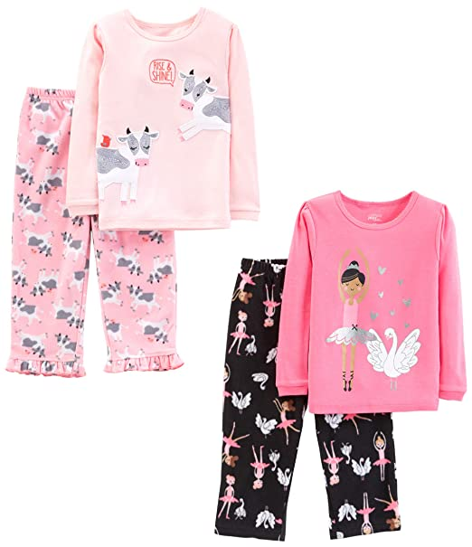 1d9b9978c90 Simple Joys by Carter's Little Kid and Toddler Girls' 4-Piece Pajama Set