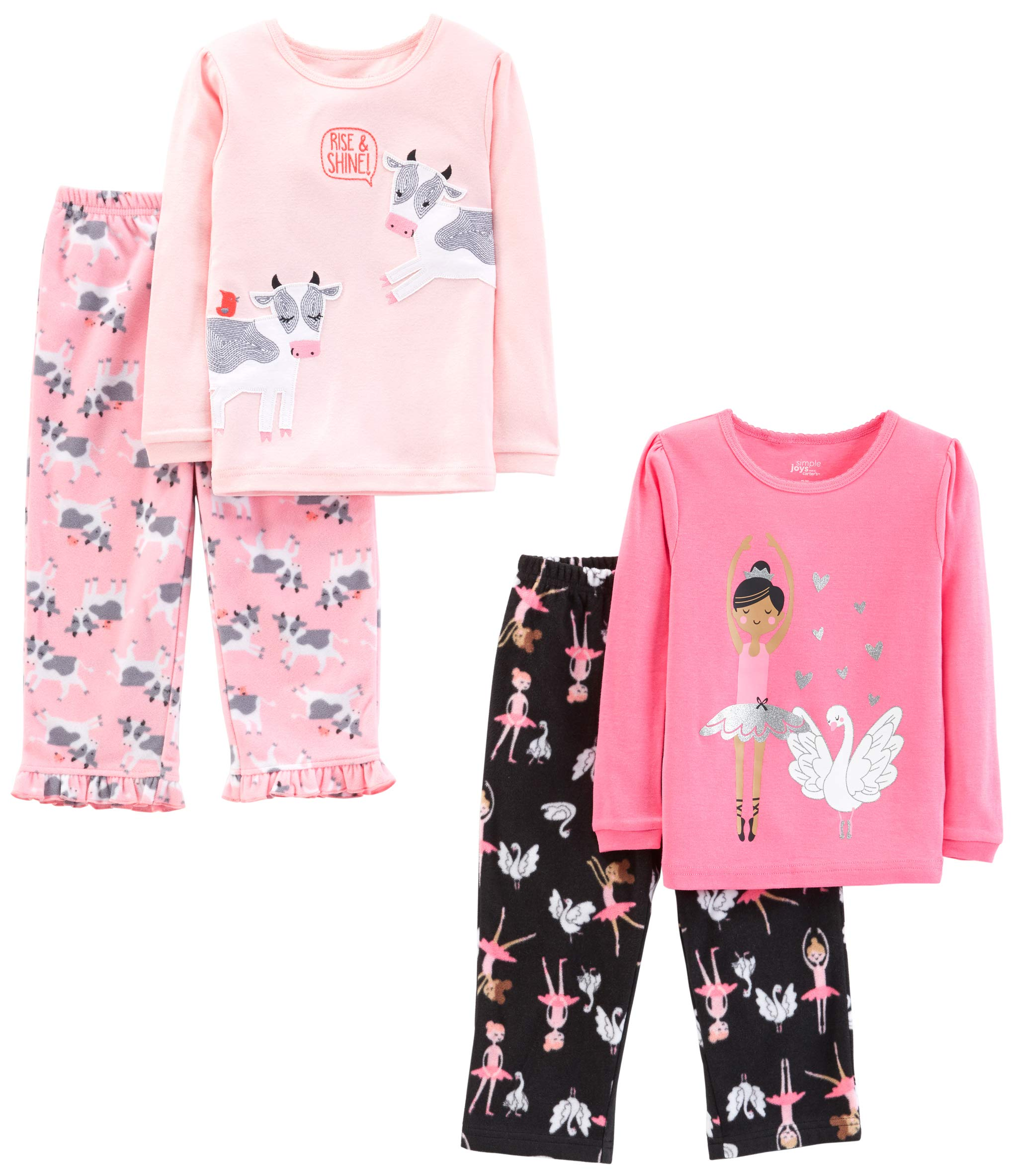 Simple Joys by Carter's Girls' Little Kid 4-Piece Pajama Set, Ballerina/Cows, 6