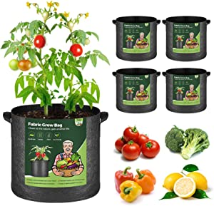 T4U Fabric Plant Grow Bags with Handles 7 Gallon Pack of 5, Heavy Duty Nonwoven Smart Garden Pot Thickened Aeration Nursery Container Black for Outdoor Potato, Tomato, Chili, Carrot and Vegetables