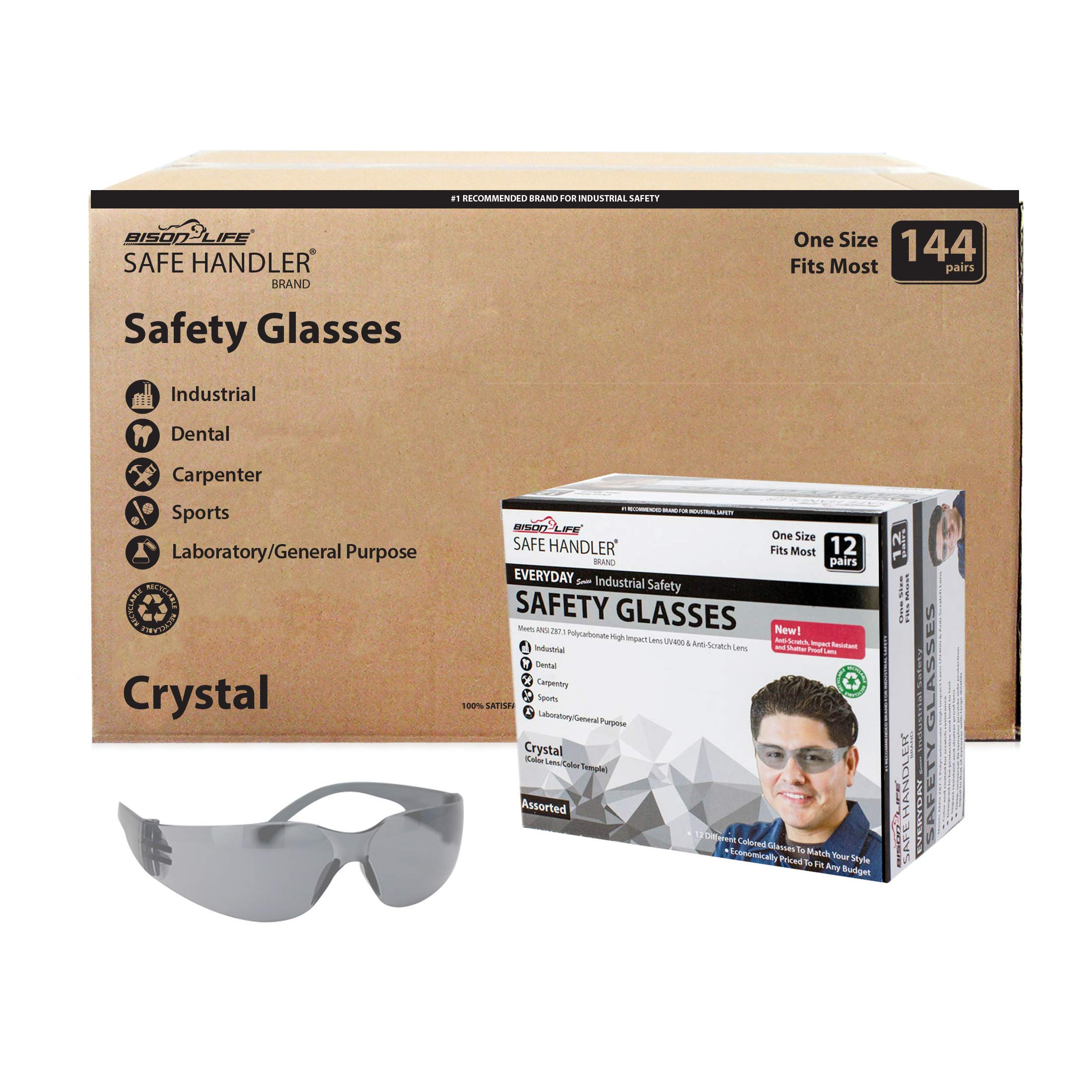 SAFE HANDLER Full Color Safety Glasses | One Size, Adult, Youth, Full Color Polycarbonate Lens and Temple, GREY, Box of 12 (Case of 12 Boxes, 144 Pairs Total)