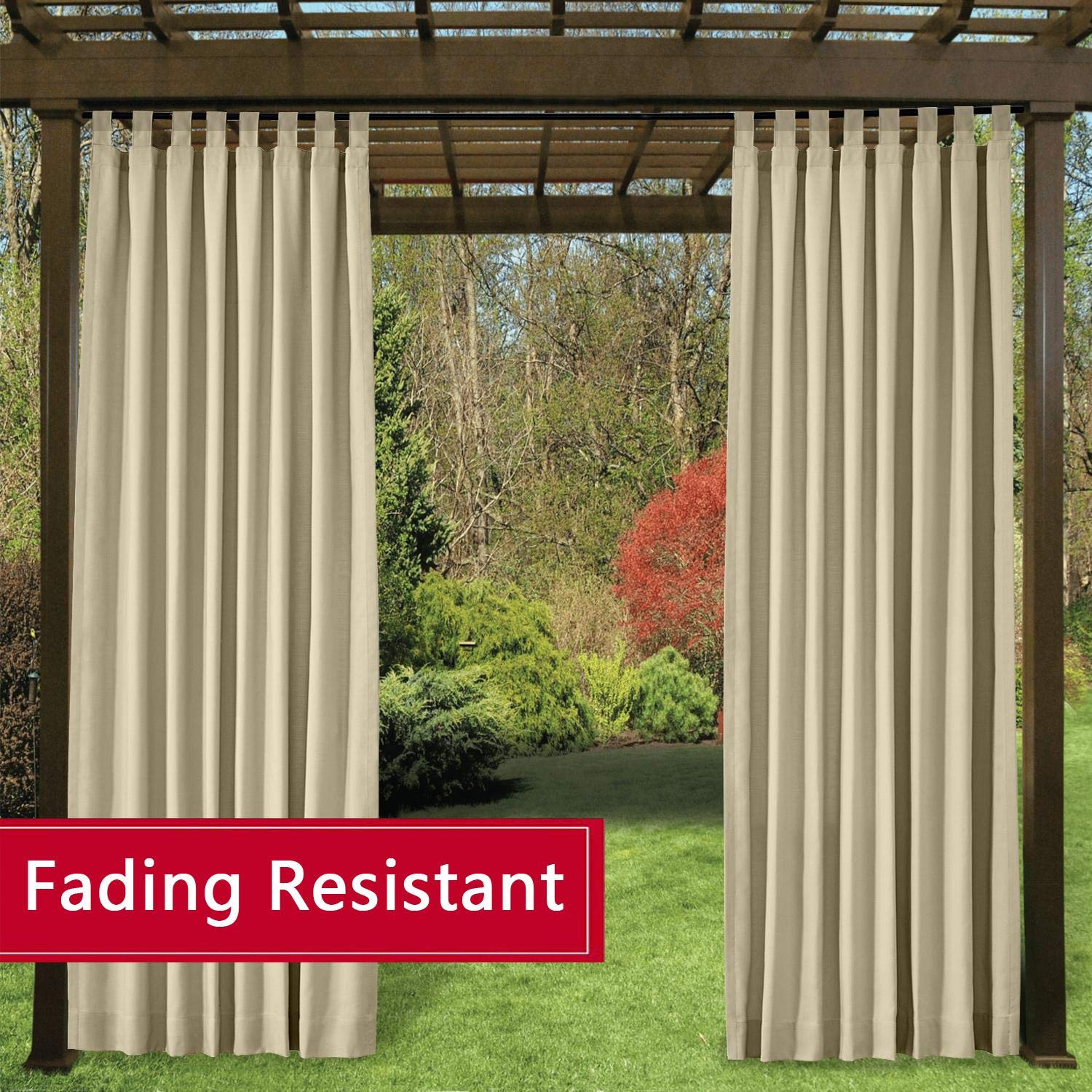 TWOPAGES Outdoor Tab Top Curtains for Patio Waterproof Beige Curtains/Drapes Fade Resistant Door Drapes(1 Panel, W72 x L84 Inch)