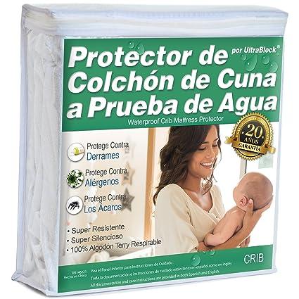 UltraBlock Protector de colchón impermeable Crib y cama para niño - Funda de Terry de algodón