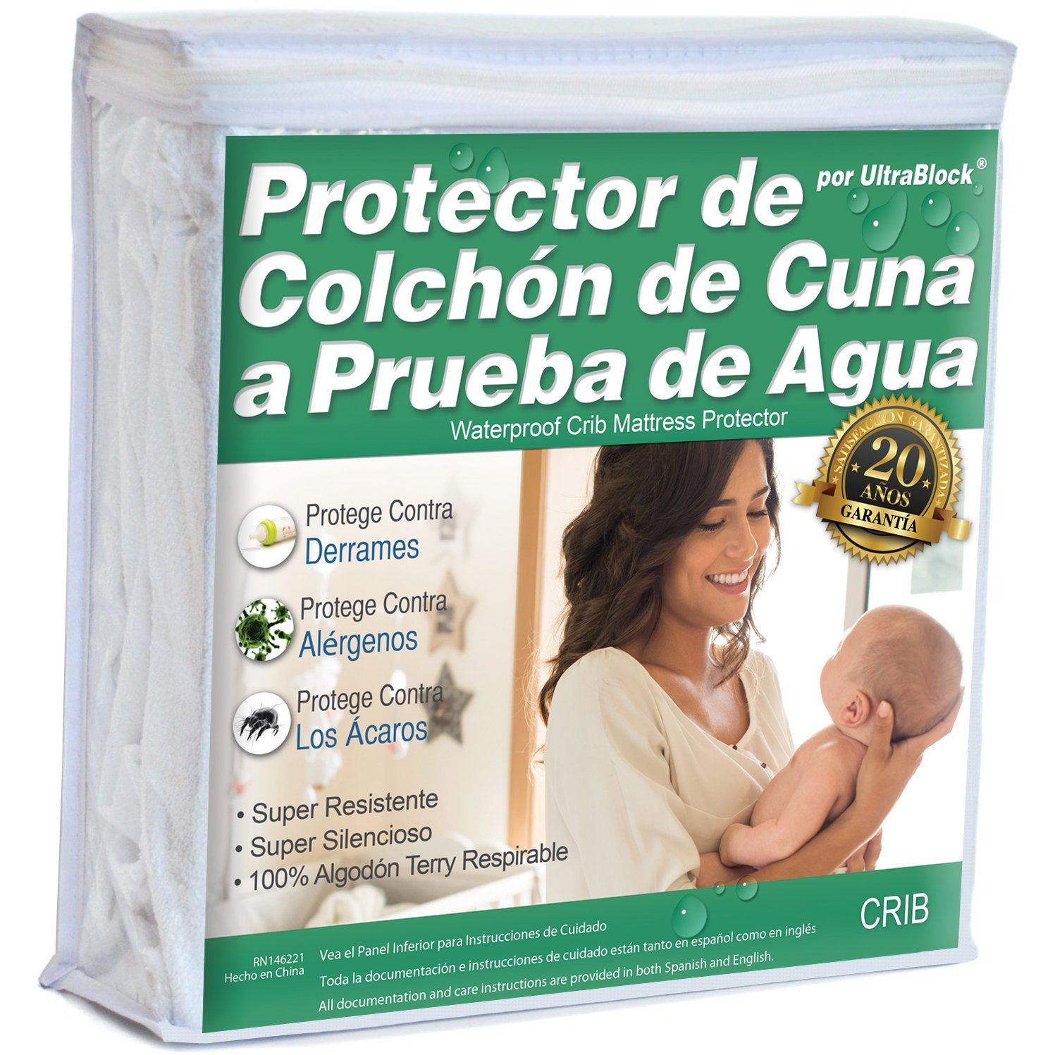 UltraBlock Protector de colchón impermeable Crib y cama para niño - Funda de terry de algodón suave Premium