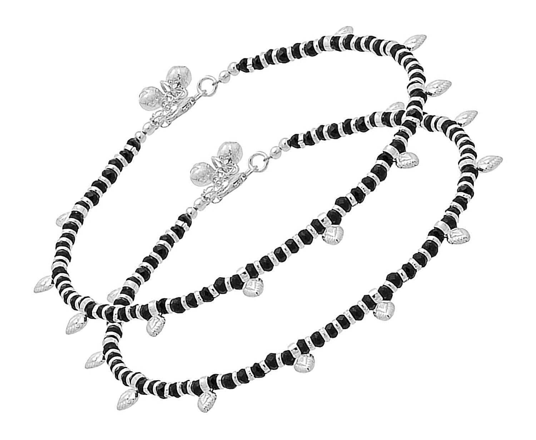 Girls D/&D Crafts Black Beads Studded Sterling Silver Anklets for Women