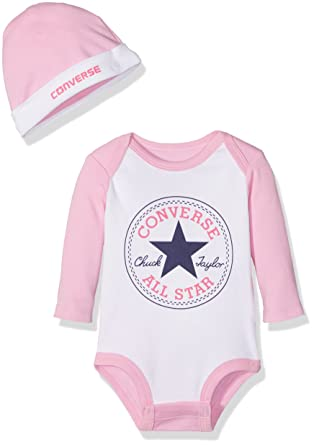 810a47471 Converse Baby Girls' Classic Chuck Patch Creeper Clothing Set: Amazon.co.uk:  Clothing