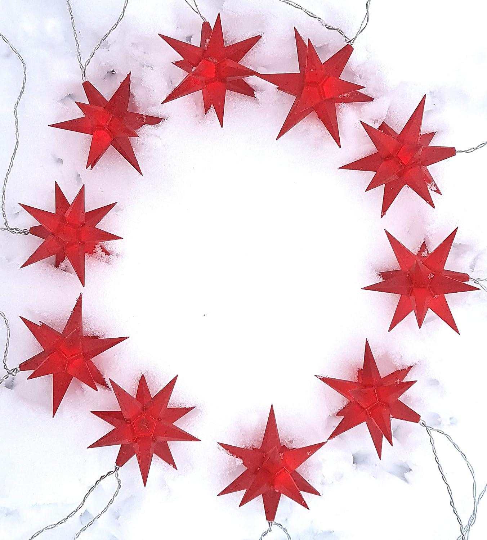Lichterkette LED mit 10 roten Sternen -je ca. 11 cm Durchmesser- Außenstern [Energieklasse A++]
