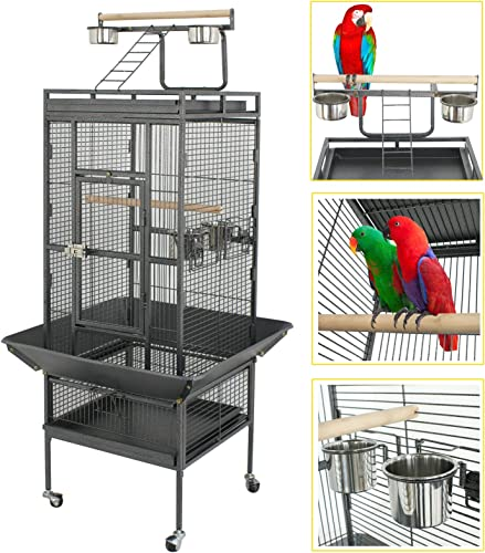 SUPER DEAL PRO 61 68 2in1 Large Bird Cage with Rolling Stand Parrot Chinchilla Finch Cage Macaw Conure Cockatiel Cockatoo Pet House Wrought Iron Birdcage, Black