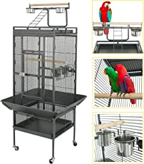 "Super Deal 53""/61""/68"" Large Bird Cage Play Top Parrot Chinchilla Cage Macaw Cockatiel Cockatoo Pet House (61 Inch)"