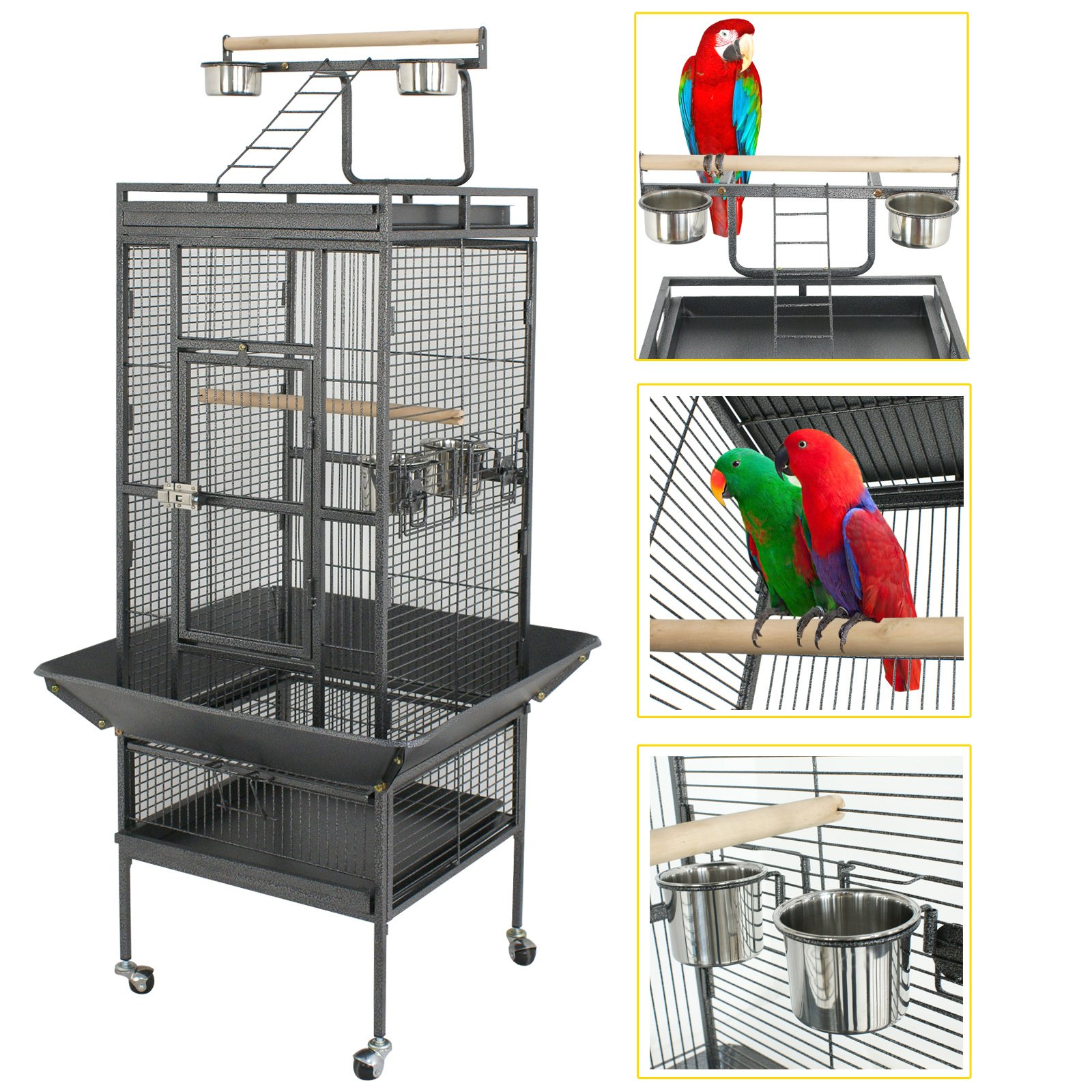 SUPER DEAL PRO 61''/ 68'' 2in1 Large Bird Cage with Rolling Stand Parrot Chinchilla Finch Cage Macaw Conure Cockatiel Cockatoo Pet House Wrought Iron Birdcage, Black (61'') by SUPER DEAL