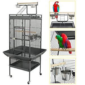SUPER DEAL PRO 61''/ 68'' 2in1 Large Bird Cage with Rolling Stand Parrot Chinchilla Finch Cage Macaw Conure Cockatiel Cockatoo Pet House Wrought Iron Birdcage, Black