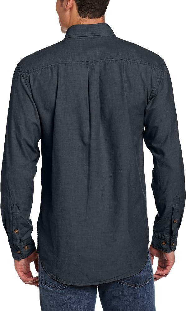 Carhartt - Camiseta de Manga Corta Ligera con botón Frontal y Ajuste Relajado, Talla LS S202 para Hombre, L, Chambray Negro, 1: Amazon.es: Amazon.es