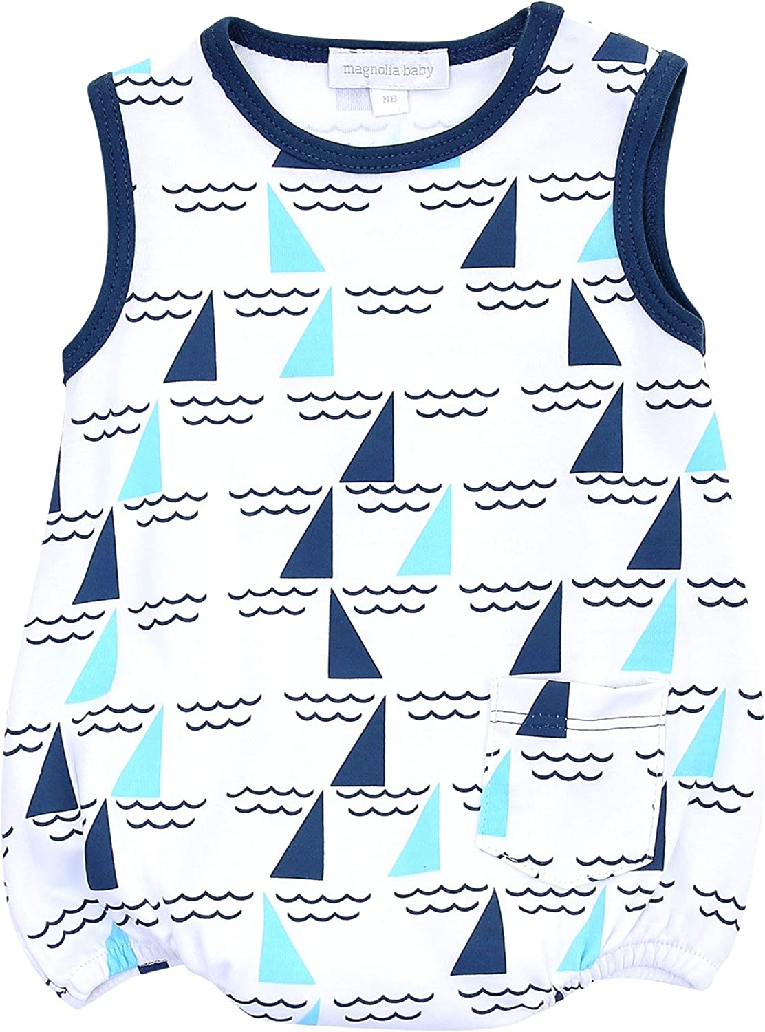 Magnolia Baby Baby Boy Set Sail Printed Sleeveless Playsuit Blue
