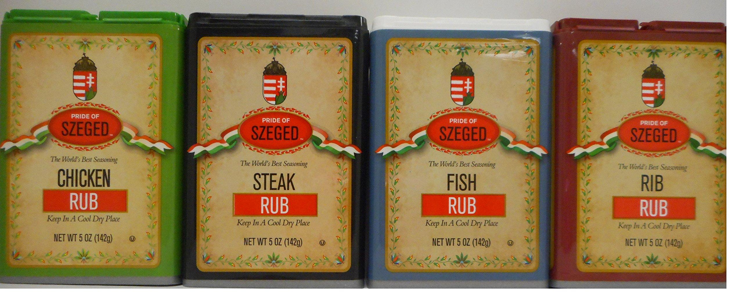 Szeged Seasoning/Rub 5 Oz Bundle of 4 Flavors: Chicken, Fish, Steak and Rib