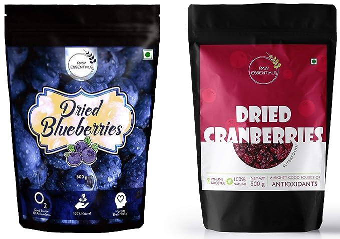Raw Essentials Whole Dried Blueberries, 500 g [Unsulphured