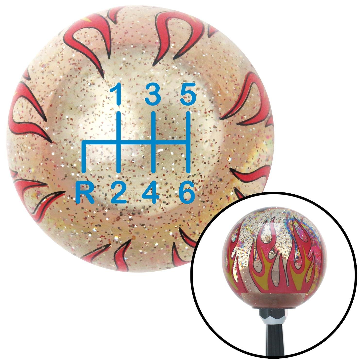 American Shifter 234496 Clear Flame Metal Flake Shift Knob with M16 x 1.5 Insert Blue Shift Pattern 22n