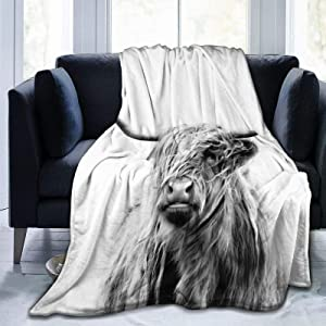 SARA NELL Highland Cow Blanket,Portrait of Cow Pattern Flannel Fleece Throw Blanket,Highlander Animal Scotland Scottish Horns Bull Cattle Warm Cozy Throw for All Seasons for Couch Bed Sofa 50''X40''