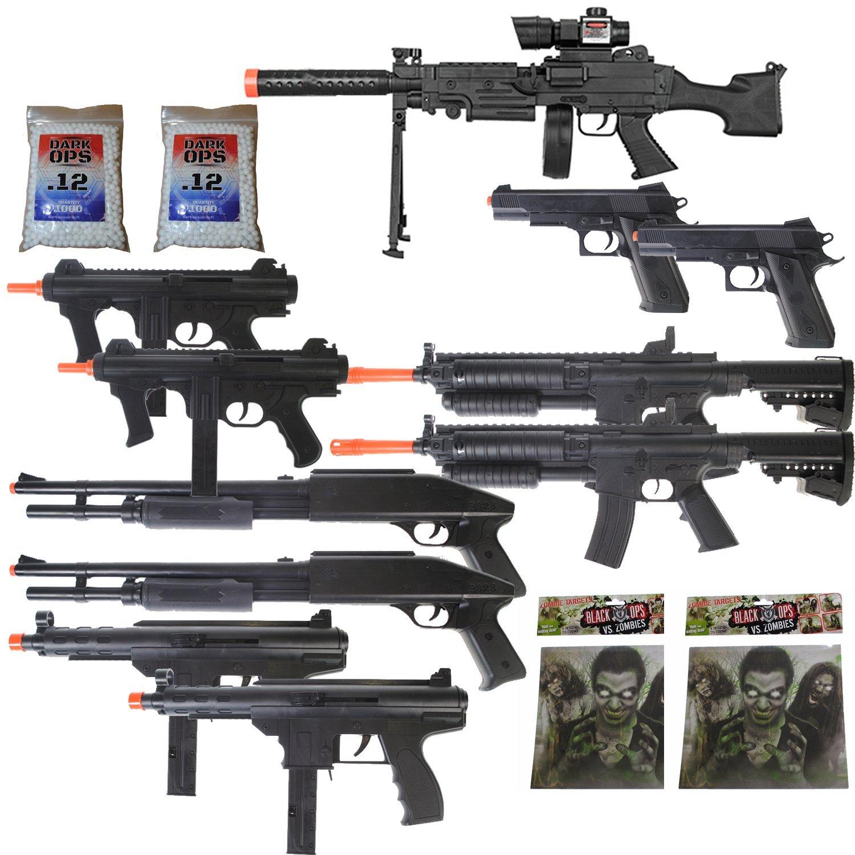 Dark Ops Airsoft 11 Gun P2338 Sniper Rifle Package + Shotguns + Pistol + Tec9 SMG + Targets BBs