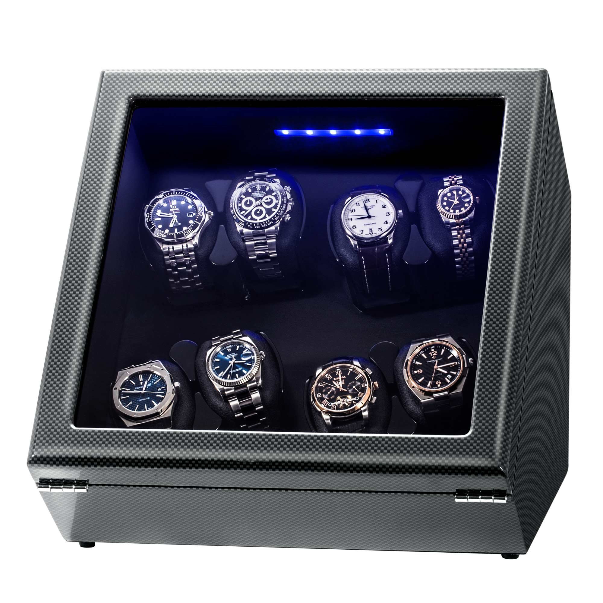 Watch Winder, Piano Finish Carbon Fiber Exterior and Soft Flexible Watch Pillows, 8 Winding Spaces with Built-in Illumination by JINS&VICO