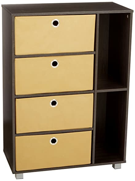 Beautiful Furinno 11159EX/BR Multipurpose Storage Cabinet W/4 Bin Drawers,  Espresso/Brown