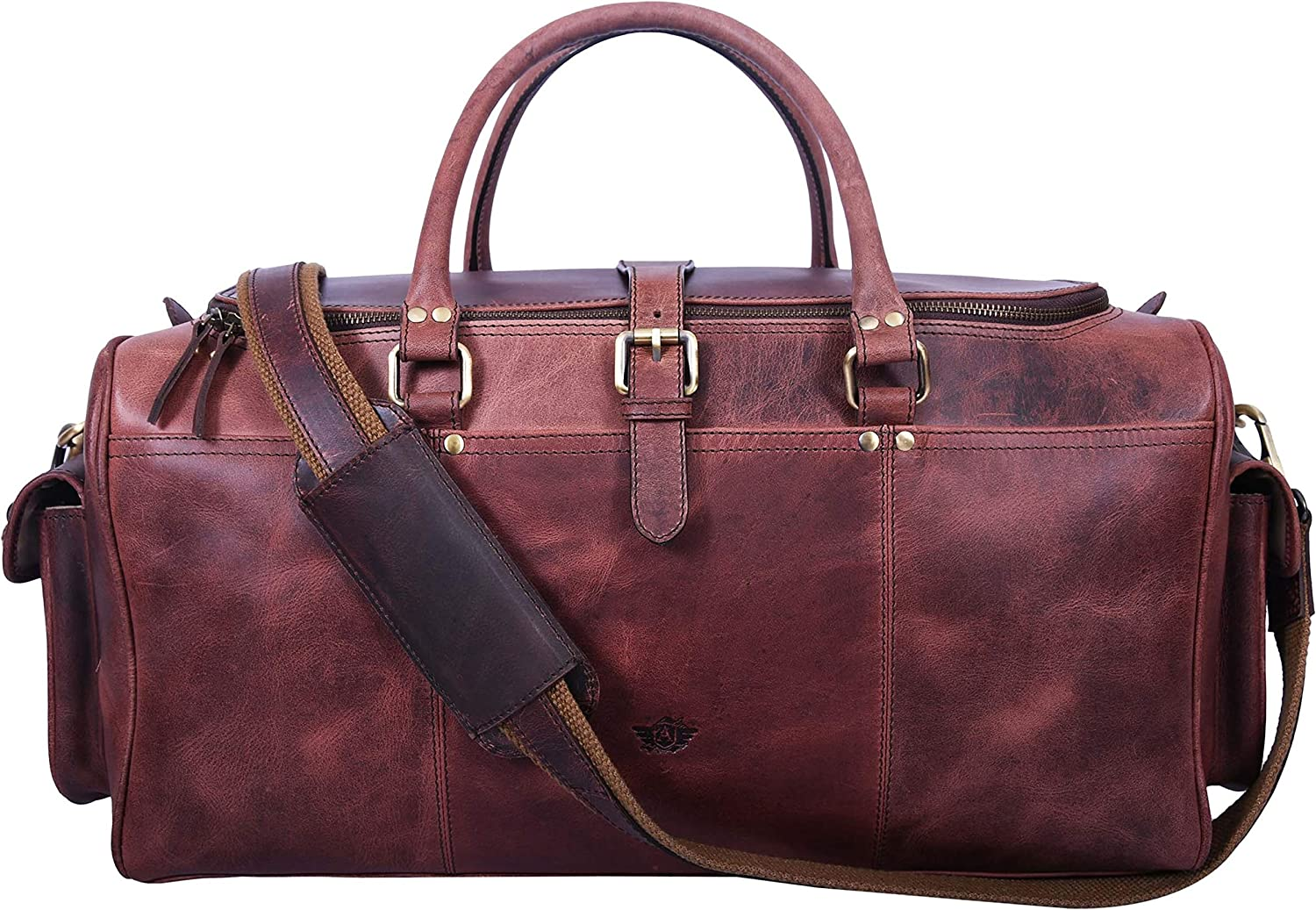 20 Leather Duffle Overnight Bag Oversized Genuine Leather Weekend Bag for Men and Women Brown
