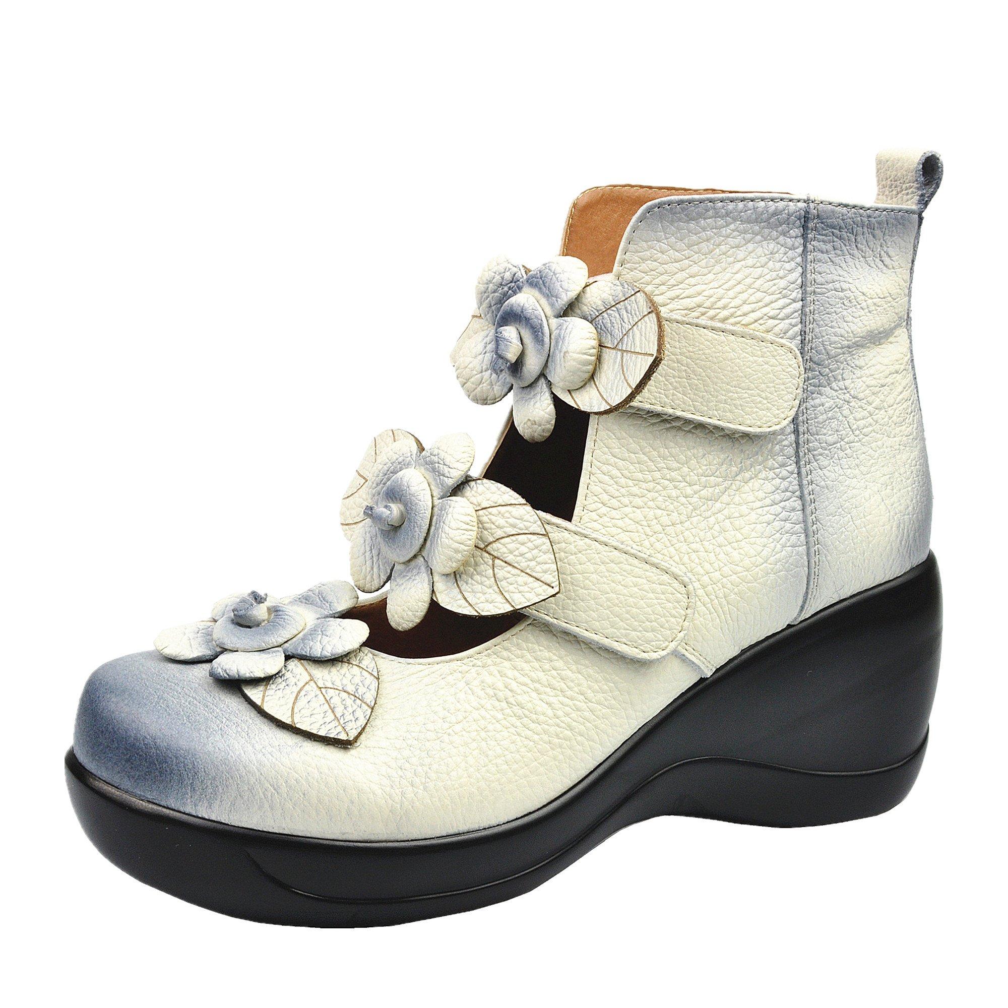 CUNZHAI Women's Unique Handmade Leather Casual Travel Soft Bottom Boot White 7.5