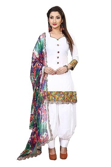 86741e0658 Sparkle etnterprise Women's Cotton Dress Material (White Patiyala._White_Free  Size): Amazon.in: Clothing & Accessories