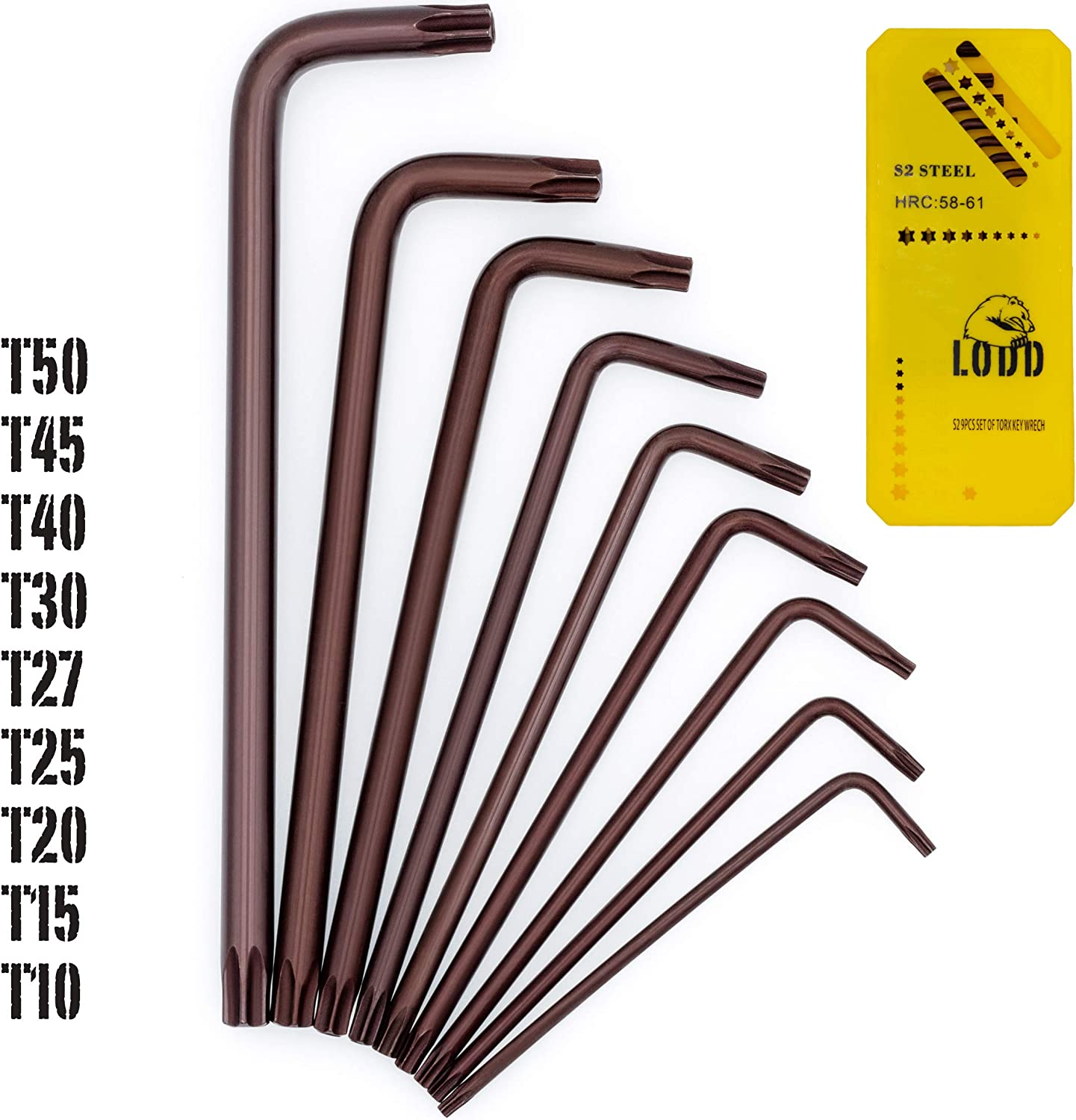 LODD Set of 9 High Tensile Torx Star Keys in S2 Anodised Steel with Pierced Heads Long Arm and Storage Holder Bronze