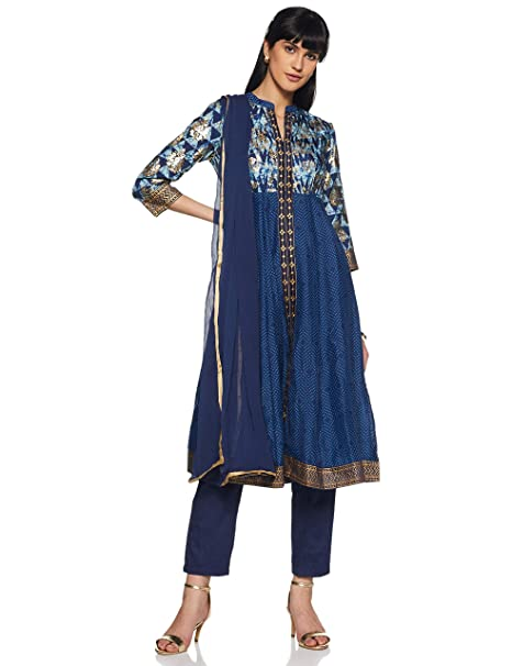 cfba6034211 BIBA Women s Angrakha Cotton Salwar Suit Set  Amazon.in  Clothing ...