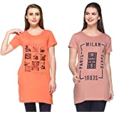 IN Love Women's/Ladies Graphic Printed Longline Side Slits Side Pockets Casual Tshirts Combo Pack of 2 A2