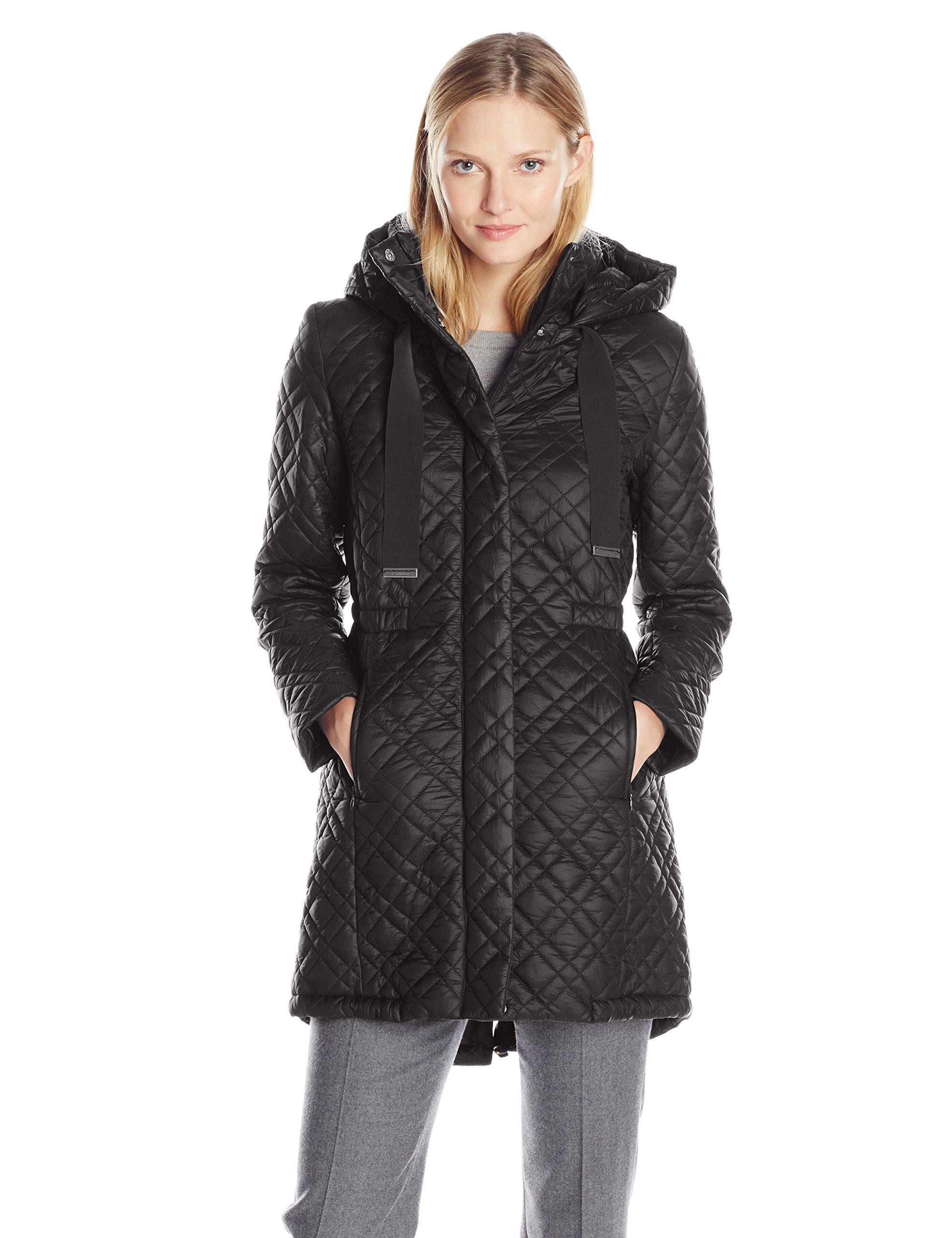 T Tahari Women's Mary Kate Quilted Coat, Black, X-Small