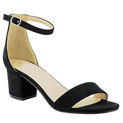 Women s Ankle Buckle Dress Mid Chunky Block Heel Sandals (Black Faux ... a5938ea74