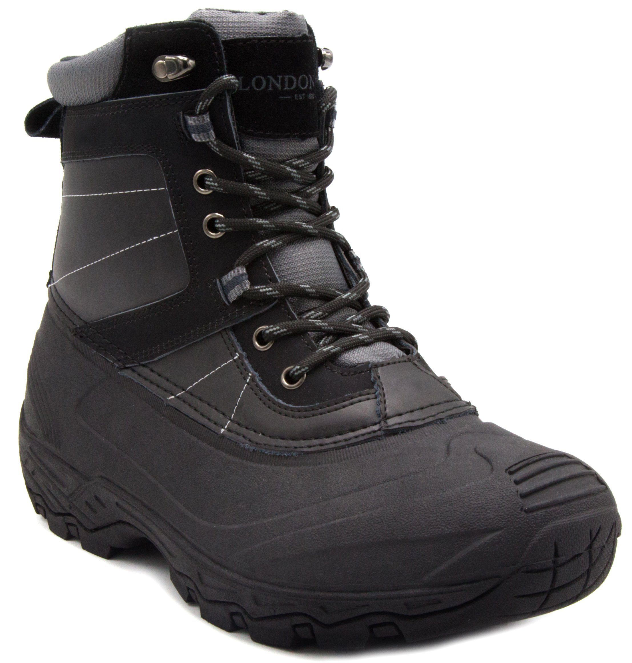 London Fog Mens Kilburn Waterproof Insulated Cold Weather Snow Boot Black 11