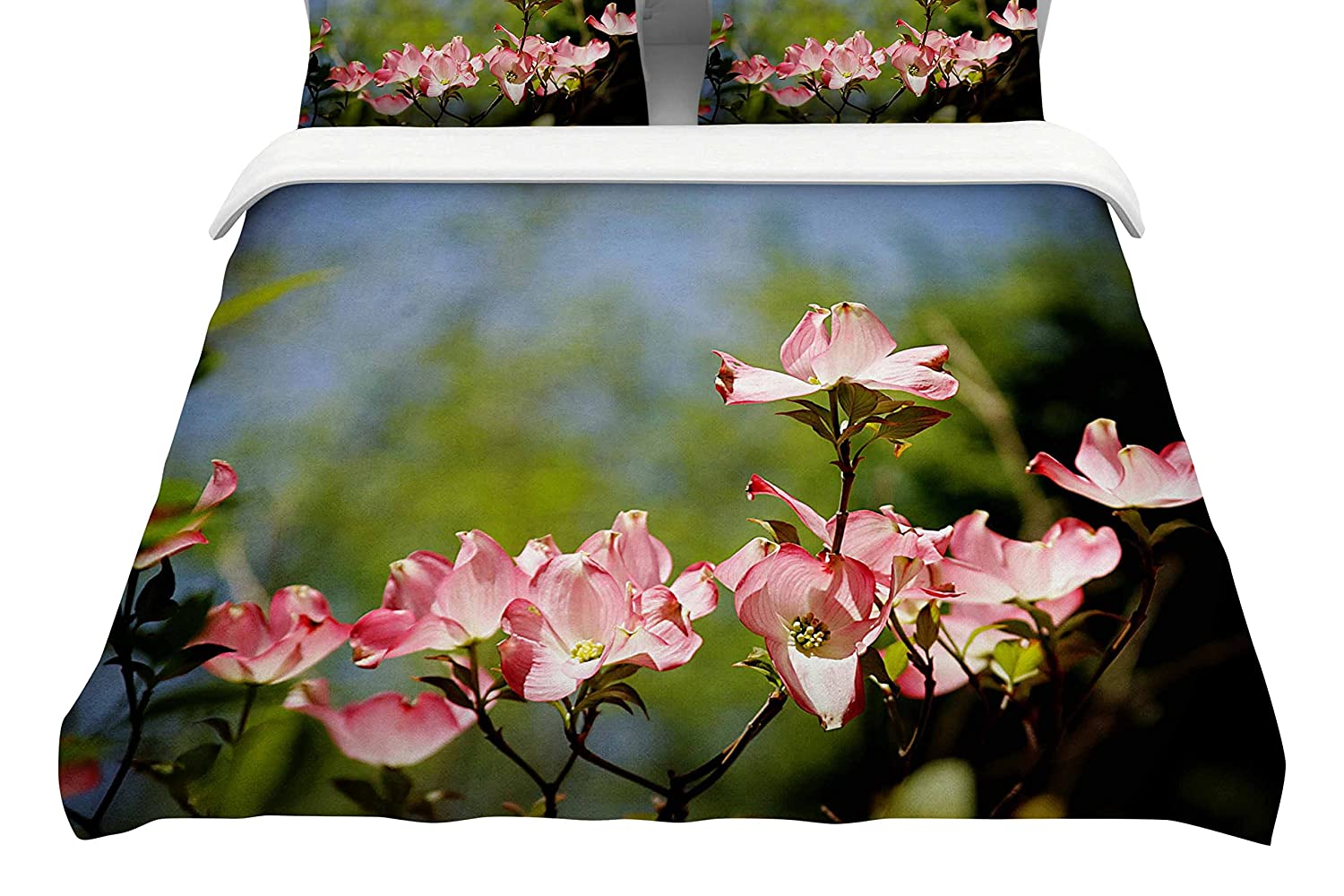 88 x 88, Kess InHouse Angie Turner Pink Dogwood Digital FloralFeatherweight Queen Duvet Cover
