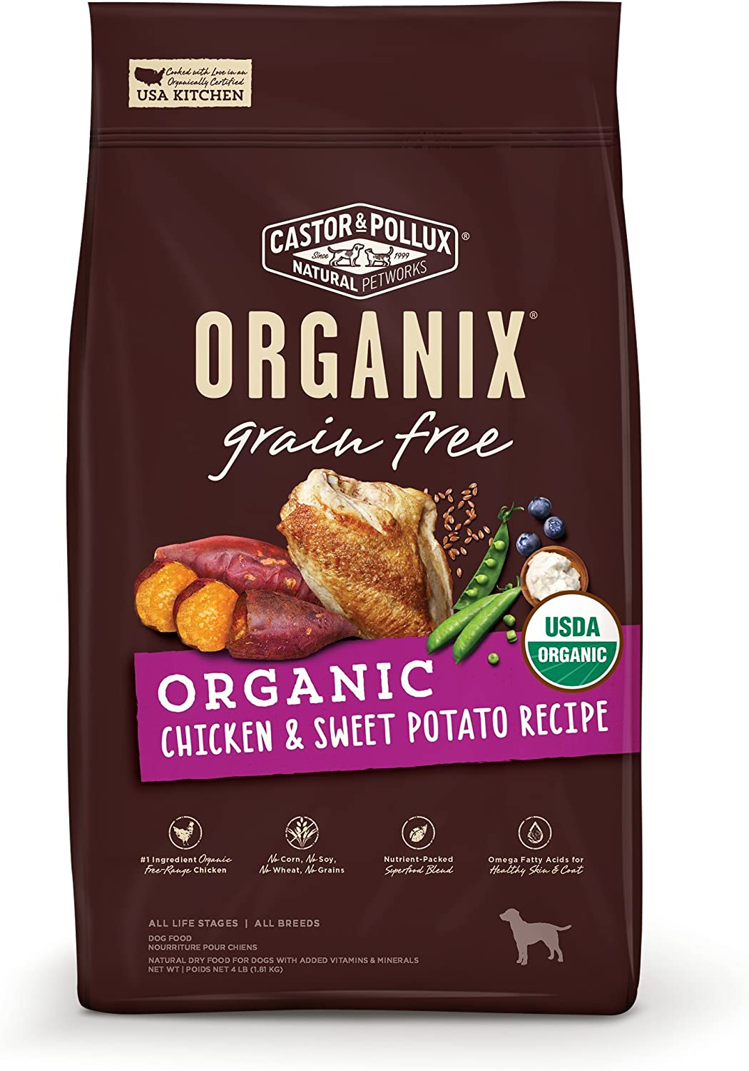 Castor Pollux Organix Grain Free Organic Chicken Sweet Potato Recipe Dry Dog Food